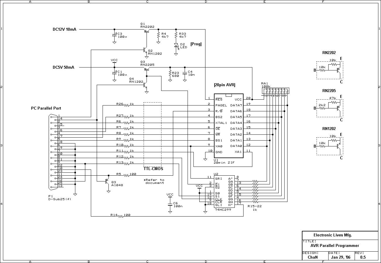 Простой программатор для avr схема